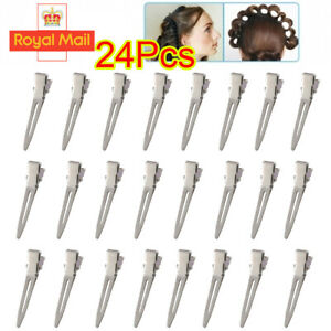 24X Hairdressing Hair Clip Single Hole Pin Curl Setting Section Duckbill Hairpin