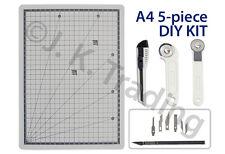 Scrapbooking 5pc Kit A4 Cutting Mat,Art Knife,Cutter,Rotary Cutter Straight Wave