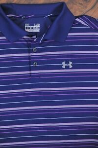 Under Armour Performance Polo Shirt Navy Stripe Men's Large L