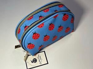 Clementine & Jane Blue Ladybug Double Zip Cosmetic Makeup Travel Bag Case $28