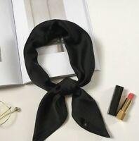 Foulard Femme Carré Uni Noir Effet Soie - Bijoux des Lys