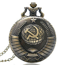 VINTAGE sovietico falce martello Quarzo Pocket Watch Collana Bronzo Ciondolo Regalo