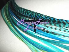 Feather extensions Aqua Turquoise Teal solid grizzly beads 40p Ocean Kit XLONG