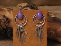 Vintage Southwestern Sterling Silver and Dyed Purple Agate Earrings