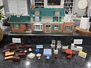 Vtg 1950 - 60's Marx Tin Two Story Dollhouse Breezeway  Furniture REDUCED 2 SELL
