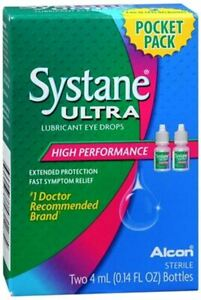 Systane Ultra Lubricant Eye Drops Pocket Pack 8 mL/ DATE 12-20-04-2020