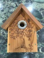 Burnt Wood BIRD HOUSE Decorative Farmhouse Chic Country Cottage Decor Decoration