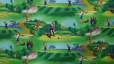 "New 44/45"" 100% Cotton, Jeff Leady for Elizabeth's Studio, Golfing Design"
