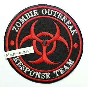 Embroidered Zombie Outbreak Response Team Patch Red Iron/Sew on Biker Badge 9.5