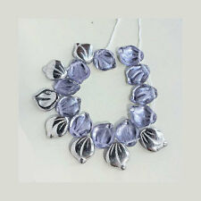Lilac Purple Glass Leaves Beads Vintage Style Lavender Garden Czech Beautiful OO
