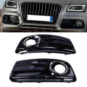 Pair For 2012-2016 Audi Q5 MK1 Front Lower Bumper Fog Light Lamp Grille
