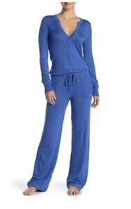 Leimere Womens Cashmere Blue Split Neck Drawstring Pajama Jumpsuit Button Down M