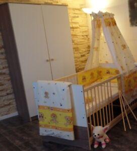 Babyzimmer Komplett Set Babybett Umbaubar 5 Farben Schrank Matratze WEIß-Braun
