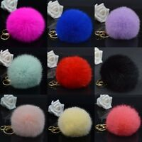 Cute Real Rabbit Fur Ball PomPom Car Keychain Handbag Charm Key Ring