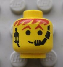 Lego Minifigure HEAD Yellow- Headset with Red-Brown Hair-  Space City Town Man