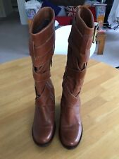 **FAITH** Leather Calf Length Wedge Buckle Boots Brown Size4 Excellent Condition