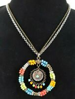 Chicos Statement Beaded Necklace Hippie Boho Multi Color Circle Southwestern