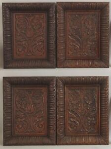 4 Antique English Victorian Carved Oak Architectural Panels NO RESERVE!