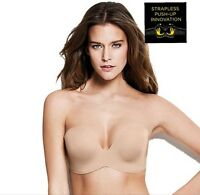 NEW WONDERBRA ULTIMATE STRAPLESS PUSH UP UNDERWIRED IN NUDE 32B-38FMagic hands