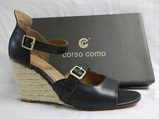 Corso Como Size 9.5 M Hello Black Leather Open Toe Wedges New Womens Shoes