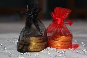 30 x RED & BLACK ORGANZA BAGS WEDDING TABLE DECORATION 7cm x 9cm UK SELLER