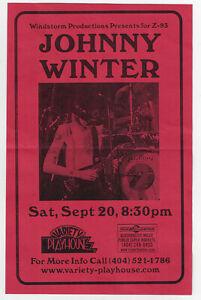 JOHNNY WINTER Concert Handbill / ATLANTA Variety Playhouse  September 20, 1997 !