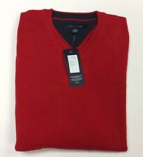 NWT TOMMY HILFIGER Men's Taft V-Neck Cotton Sweater Red Size Large College Lic