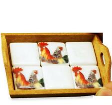 DOLLHOUSE Wood Tray w Rooster Tiles 1.765/0 Reutter Porcelain Kitchen 1:12