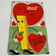 Vtg Valentine Card It's a Rule With Me I Love You Teacher Anthropomorphic Ruler