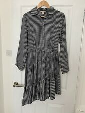 H M Black White Gingham Midi Dress Size EU38