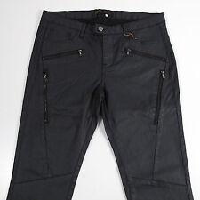 Zara Women's Jeans Pants Size 10 Skinny Fit Punk Rock Style Black Faux Leather