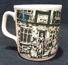 Staffordshire Tableware Green Dickens Scene Cartwrights of England Coffee Mug