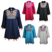 Women Ladies Cotton Stylish Kurti Indian Pakistani Kurta Tunic Top Kaftan 9973