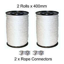 2 x 400m Blanc Clôture électrique 6 mm corde comprend 2 connecteurs clôture de poly