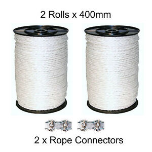 2 x 400M WHITE 6MM ELECTRIC FENCING ROPE Includes 2 Connectors Poly Fence