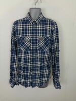 MENS SUPERDRY BLUE/WHITE CHECKED BUTTON UP LONG SLEEVED CASUAL SHIRT UK M MEDIUM