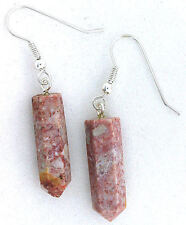 Pure Sterling Silver Earwire Natural Red Gray Jasper Crystal Point Gem Earrings