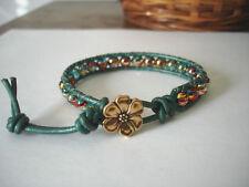Colorful Confetti Beads on Metallic Teal Leather Cord Handmade Wrap Bracelet