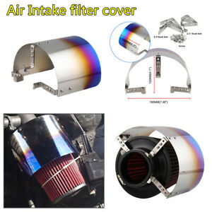 "1X Blue Stainless Steel Air Intake Cover Heat Shield For Car 2.5-5"" inlet Filter"