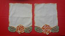 2 Vintage Hand Crochet Yellow Green Floral Trim Fabric Doilie Free Shipping