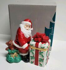 Partylite Jolly Santa Claus w/Present Trinket Box Votive Candle Holder