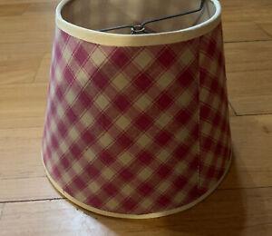 Country Primitive Red & Tan Window Pane Plaid Homespun Lamp Shade