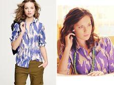 NWOT J CREW Silk Wild Ikat Purple Button Down Blouse Top Size 6