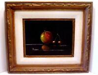 Vintage MID-CENTURY Modern APPLE & CHERRIES Original STILL LIFE Painting MIRIAM?