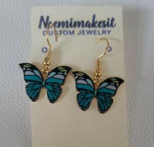 Dark Teal Butterfly Metal Earrings