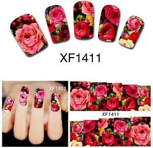 Red Rose Flower Nail Art Sticker Decal Decoration Manicure Water Transfer