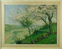 Landschaft mit Bäumen und ruhendem Wanderer im Schatten Ölgemälde signiert