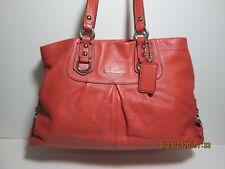 Coach Large Burnt Orange Leather Ashley Satchel Handbag F15513