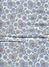 VINTAGE 1940s  FEEDSACK ~ BLUE FLORAL ROSES CHECK~ COUNTRY CRAFTS