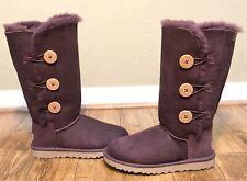 UGG Australia Womens Bailey Button Triplet Sheepskin Boots Port US 7 New/Defects